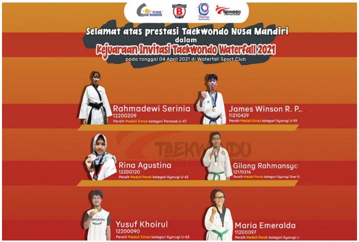 Mahasiswa Nusa Mandiri Borong 6 Medali Kejuaraan Taekwondo